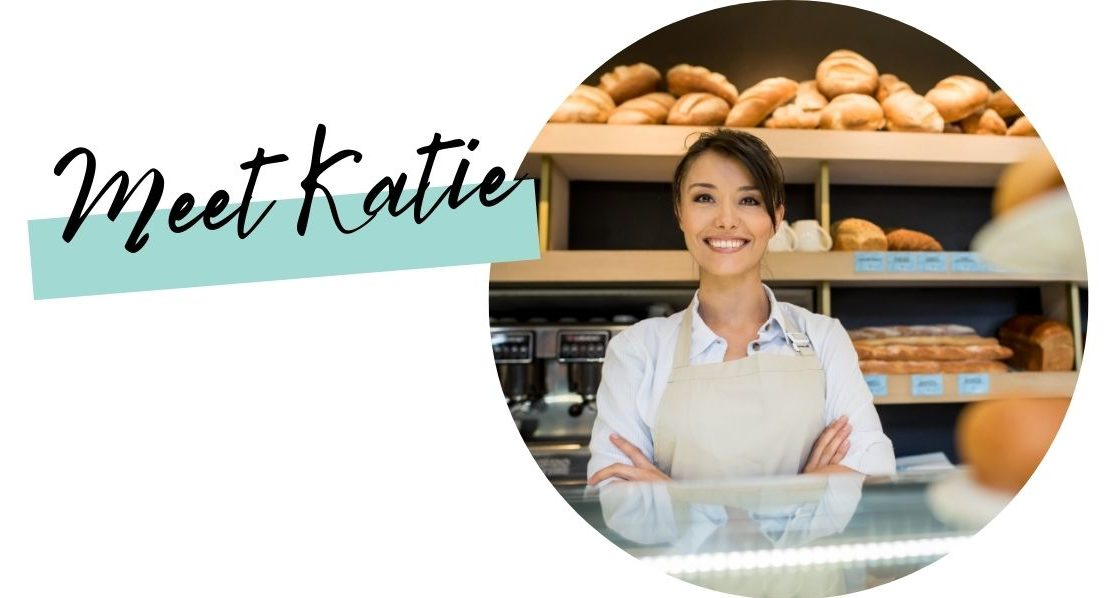 Smiling woman in bakery with text