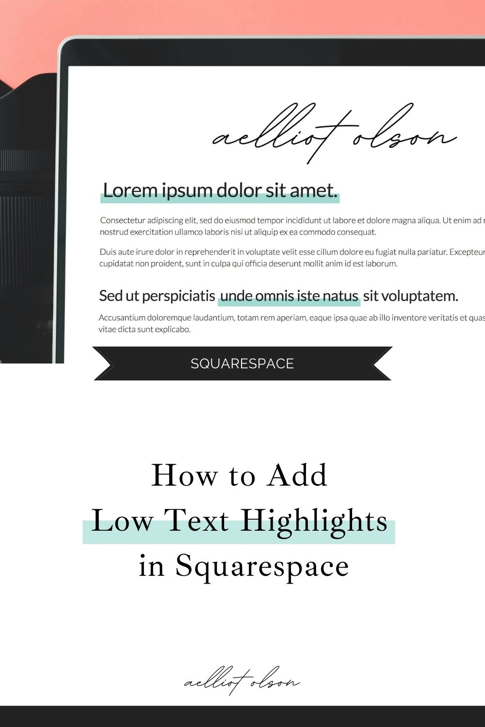 How to add low text highlights in squarespace