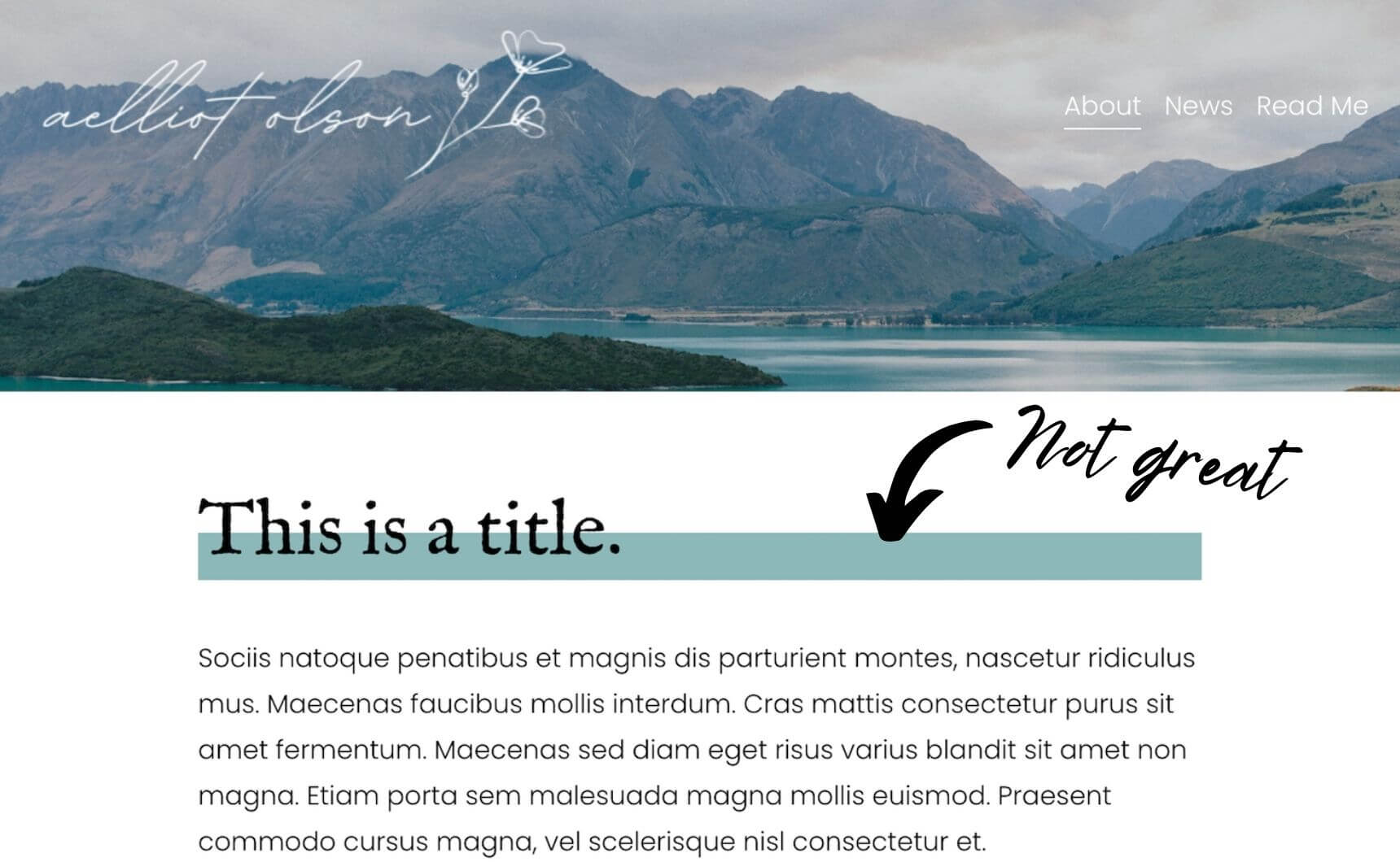 Bad example of text highlights in Squarespace