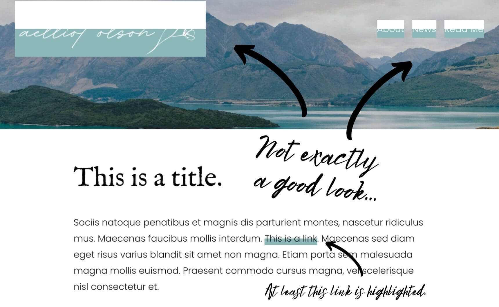 Bad example of link highlights in Squarespace