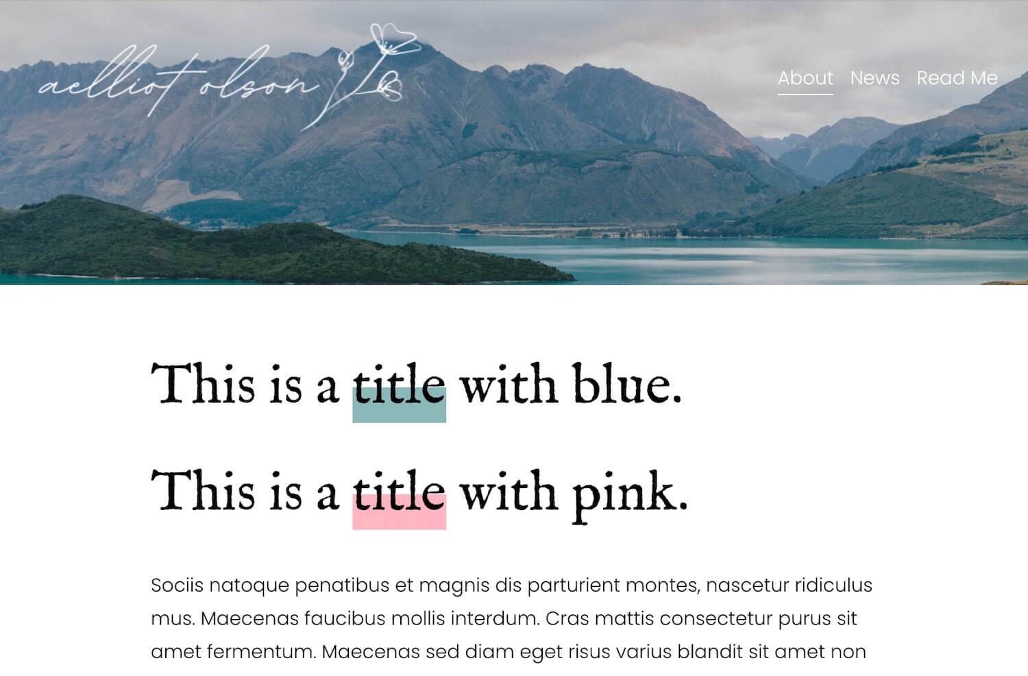 Example of text highlights in squarespace