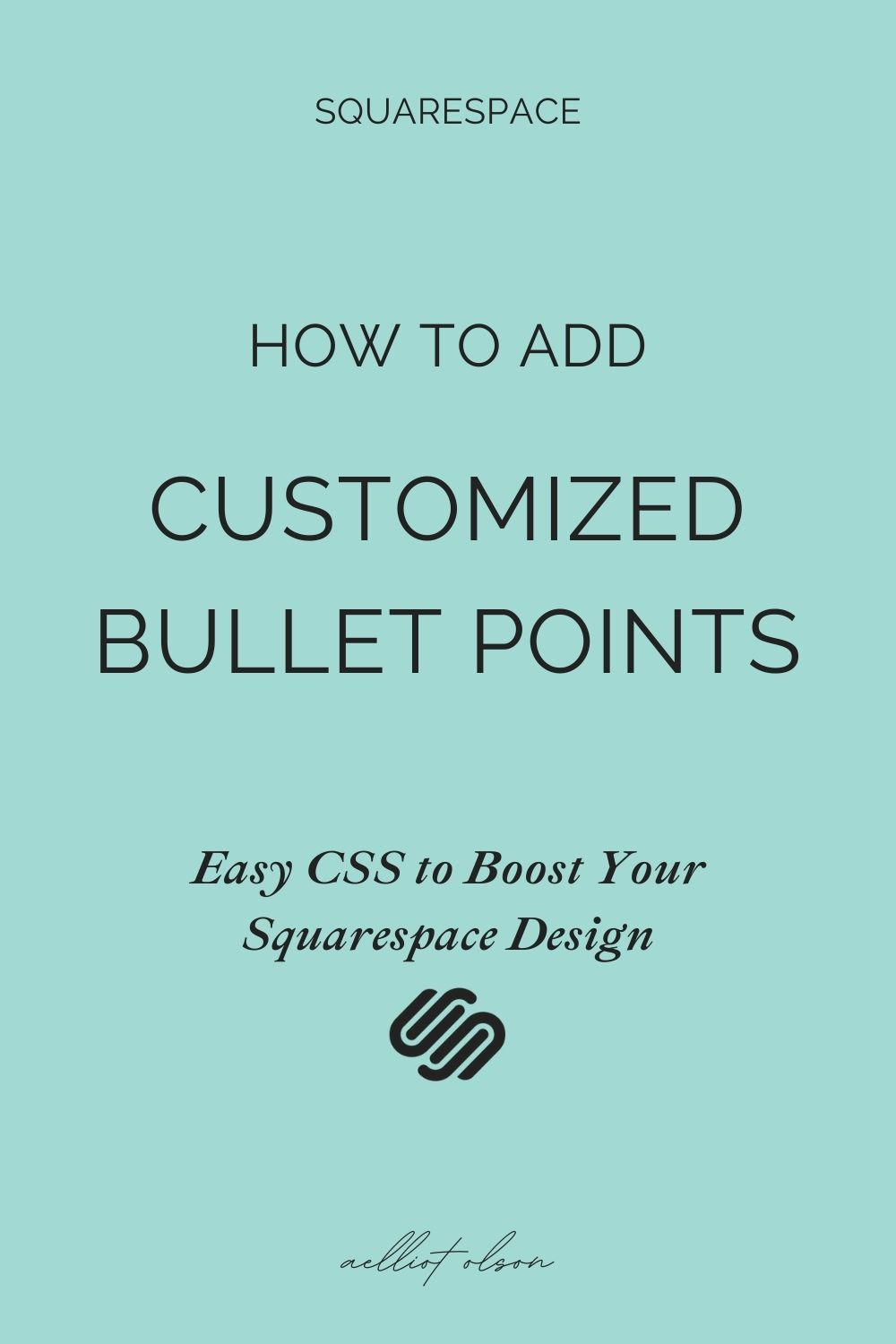 How to add customized bullet points. Easy css to boost your squarespace design.