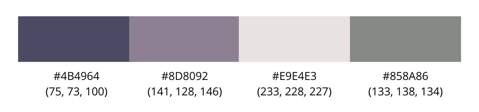 Color palette for boutique shop with purples and grays