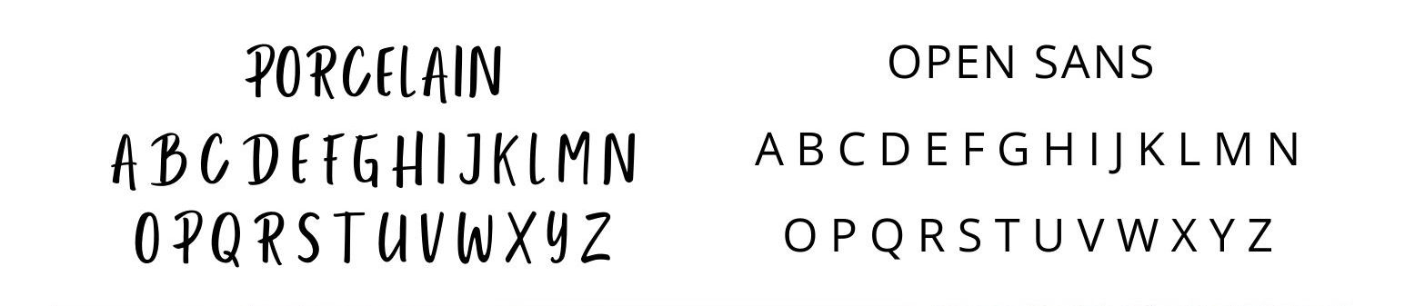 Example of contrasting fonts