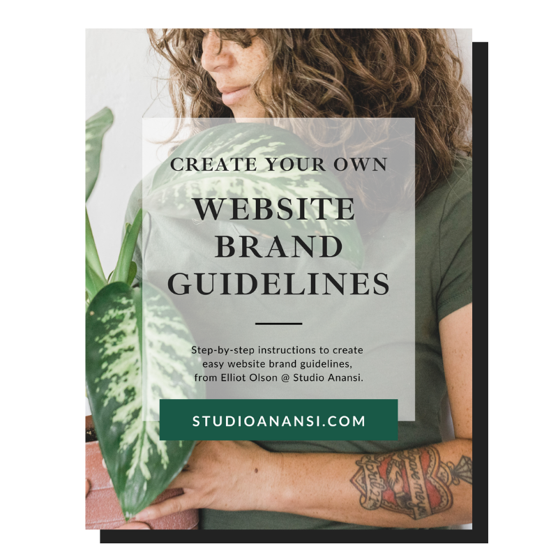 Cover of a free guide to create website brand guidelines