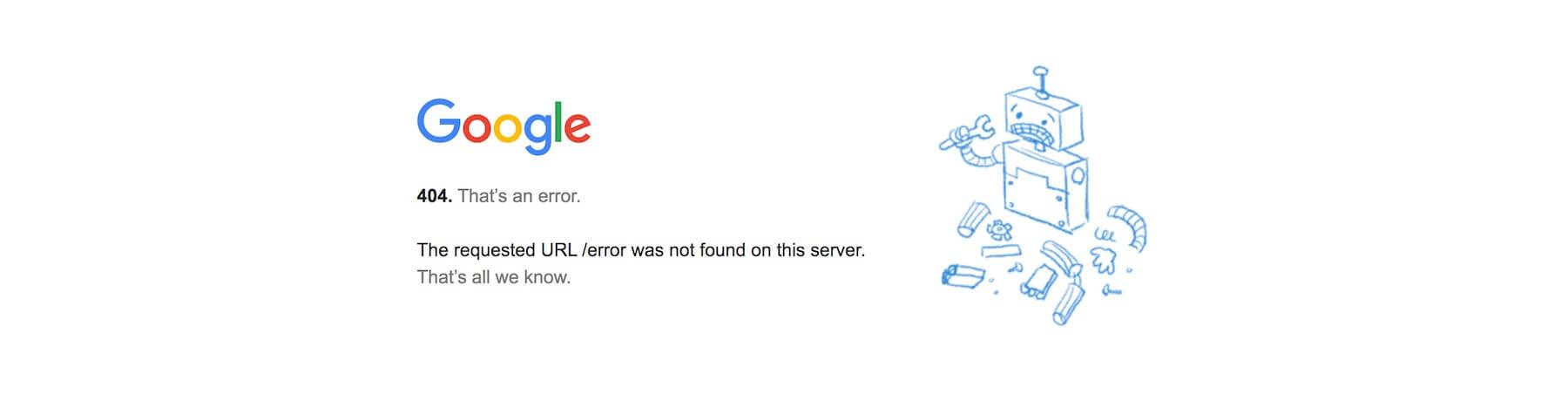 Google error page reading