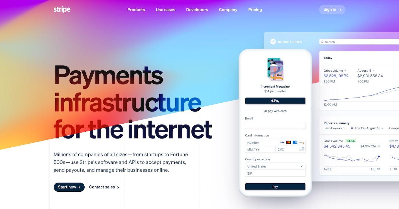 Example of gradients in web design trend 2021