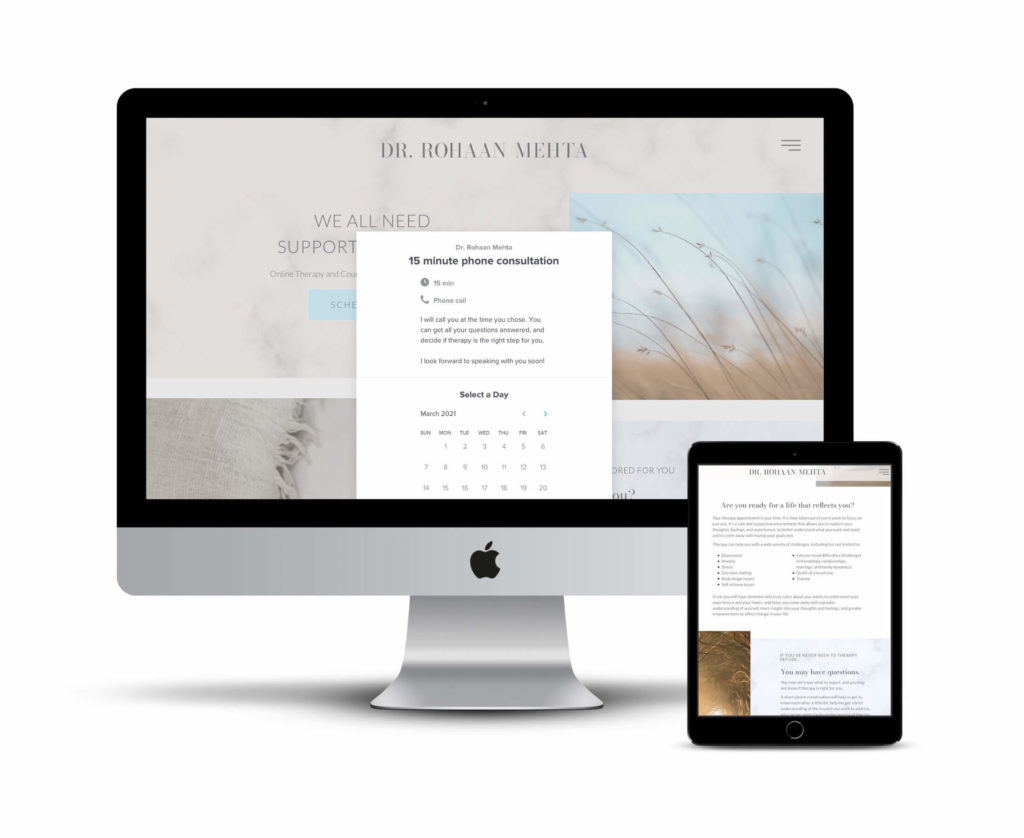 psychologist website scheduling wordpress